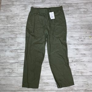 Theory Green Cortlandt Pull On Pants Large NWT